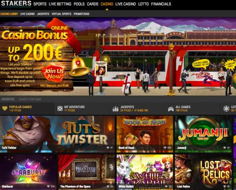 Stakers Casino: fino a 200 euro di bonus con soli 10 euro di deposito
